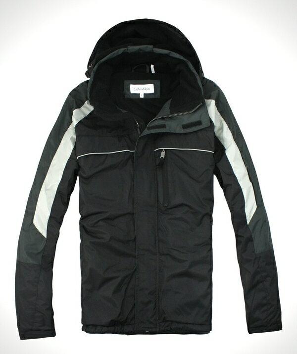 美國百分百【全新真品】Calvin Klein CK 型男 連帽外套 立領夾克 防風保暖 黑灰 免運 M L號