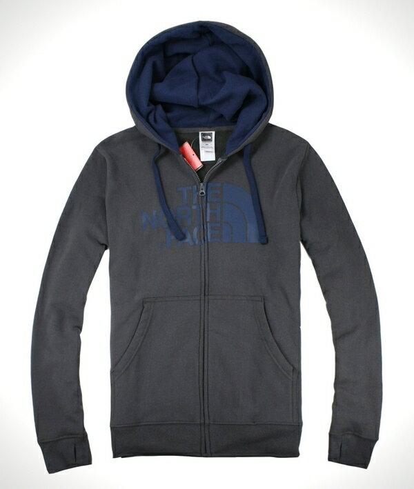 美國百分百【全新真品】The North Face 型男 灰藍 連帽外套 帽T夾克 帥氣保暖 特價免運 M L XL