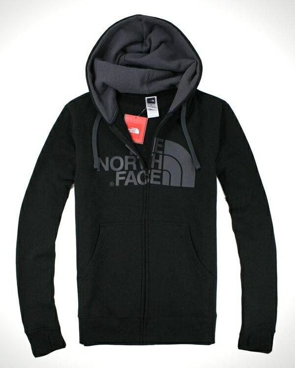美國百分百【全新真品】The North Face 男 黑 連帽外套 帽T夾克 灰Logo 休閒保暖 M L號 B957