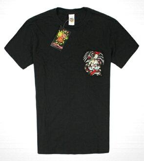 美國百分百【全新真品】ED HARDY 專櫃 男 老鷹 骷髏 短袖 黑色 刺繡 Tee T-shirt 潮牌 T恤 S號