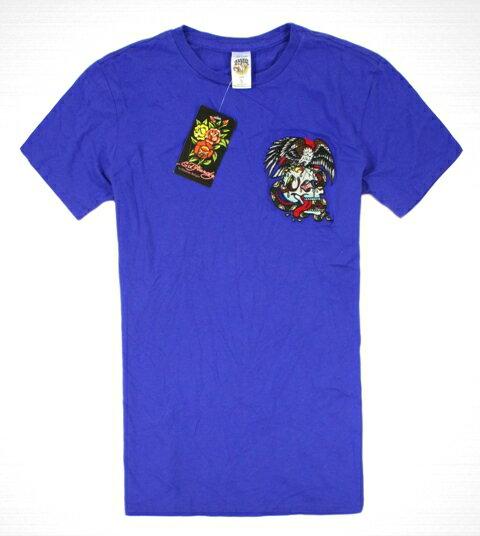 美國百分百【全新真品】ED HARDY 專櫃 男 骷髏 老鷹 刺繡 短袖 寶藍 Tee T-shirt 圖騰 T恤 S M L號 C727