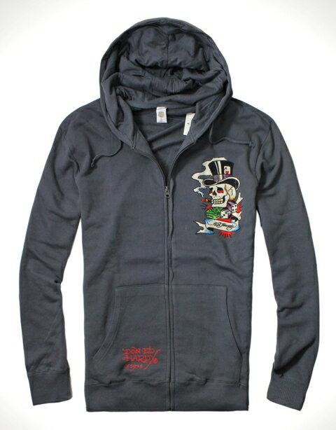 美國百分百【全新真品】ED HARDY 專櫃 男 連帽 外套 夾克 鐵灰色 骷髏 魔術師 刺青 水鑽 XL號 C117