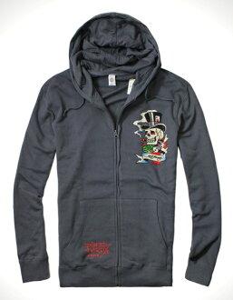 美國百分百【全新真品】ED HARDY 專櫃 男 連帽 外套 夾克 鐵灰色 骷髏 魔術師 刺青 水鑽 XL號