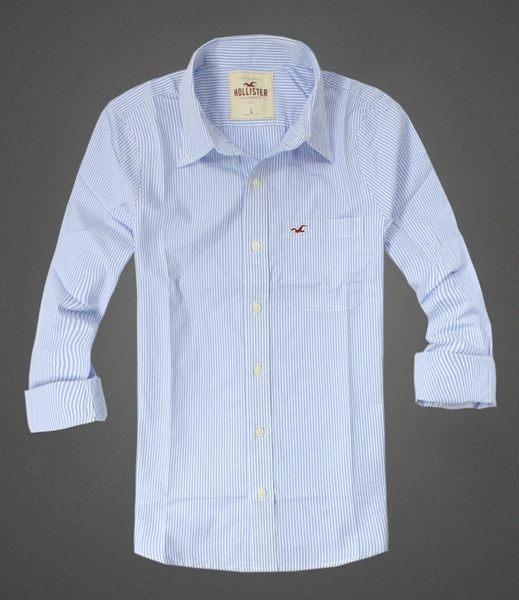 美國百分百【全新真品】Hollister Co. HCO 男 海鷗 藍色 條紋 長袖 襯衫 shirt 休閒 風格 S L號