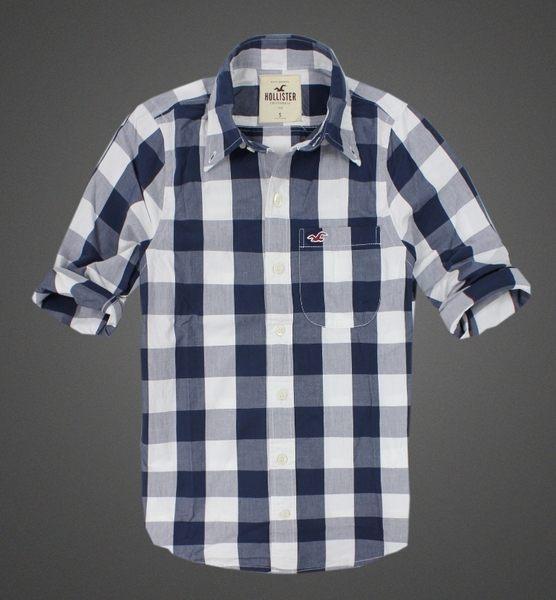 美國百分百【全新真品】Hollister Co 襯衫 HCO 男衣 藍色 長袖 格紋 海鷗 休閒衫 上衣 S M號 A716