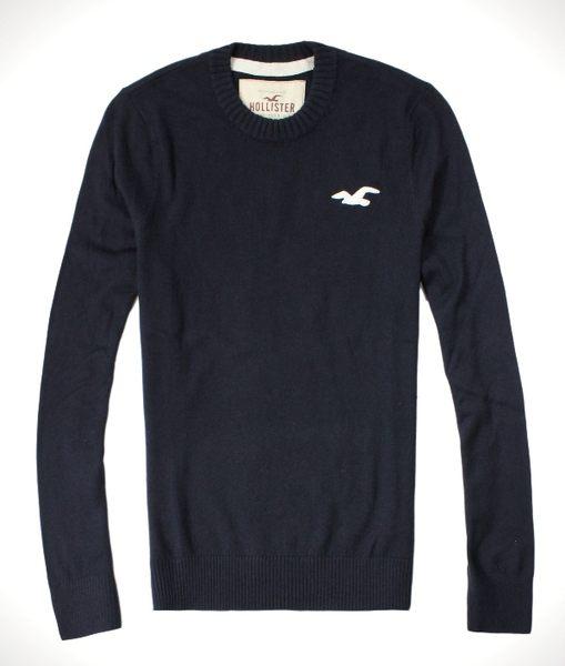 美國百分百【全新真品】Hollister Co. HCO 男 海鷗 深藍 素面 毛衣 針織衫 線衫 百搭款 S M L號