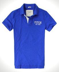 美國百分百【全新真品】Abercrombie & Fitch AF 寶藍 麋鹿 文字 男 短袖 Polo衫 休閒上衣 免運 S號