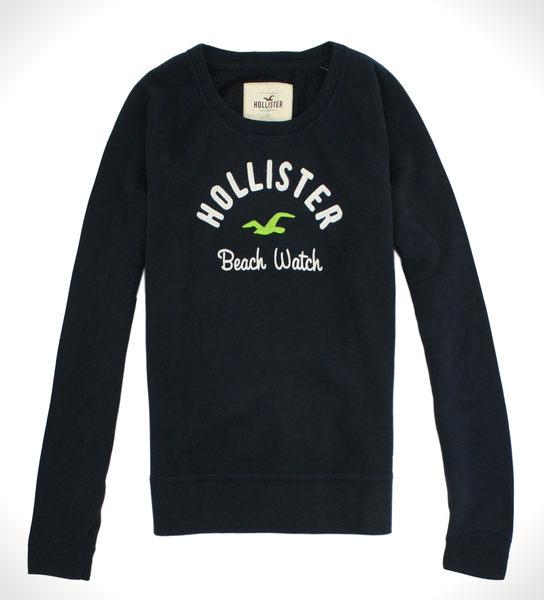 美國百分百【全新真品】Hollister Co T恤 海鷗 HCO 長袖 T-shirt 休閒 上衣 深藍 免運 S號 女衣