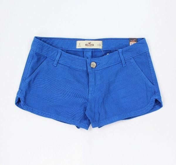 美國百分百【全新真品】Hollister Co 短褲 HCO 褲子 熱褲 藍色 休閒褲 海鷗 24腰 女褲 A712