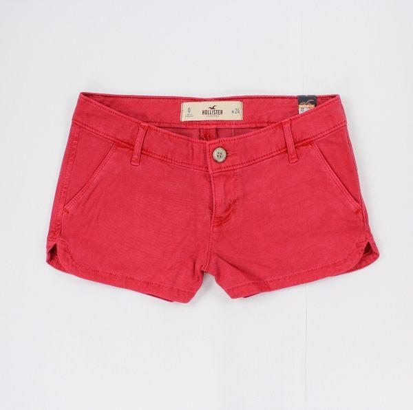 美國百分百【全新真品】Hollister Co 短褲 HCO 褲子 熱褲 紅色 休閒褲 海鷗 24腰 女褲 A712