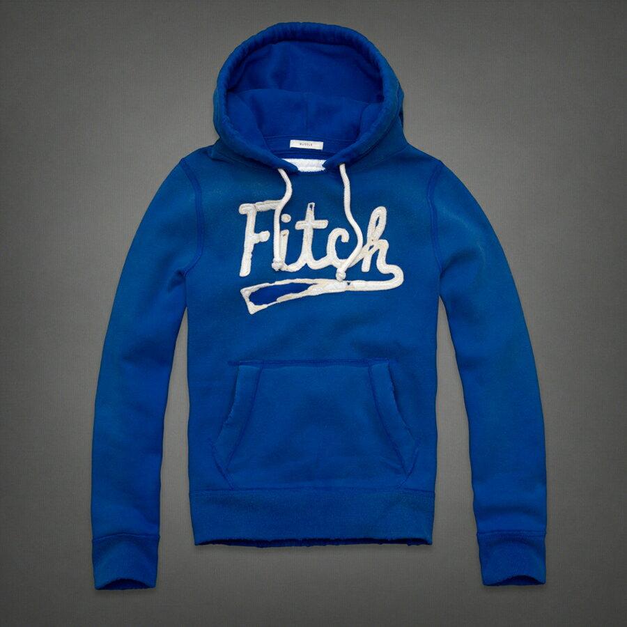 美國百分百【全新真品】Abercrombie & Fitch 帽T AF 連帽T恤 外套 長袖 麋鹿 厚棉 寶藍 男 M號 B564
