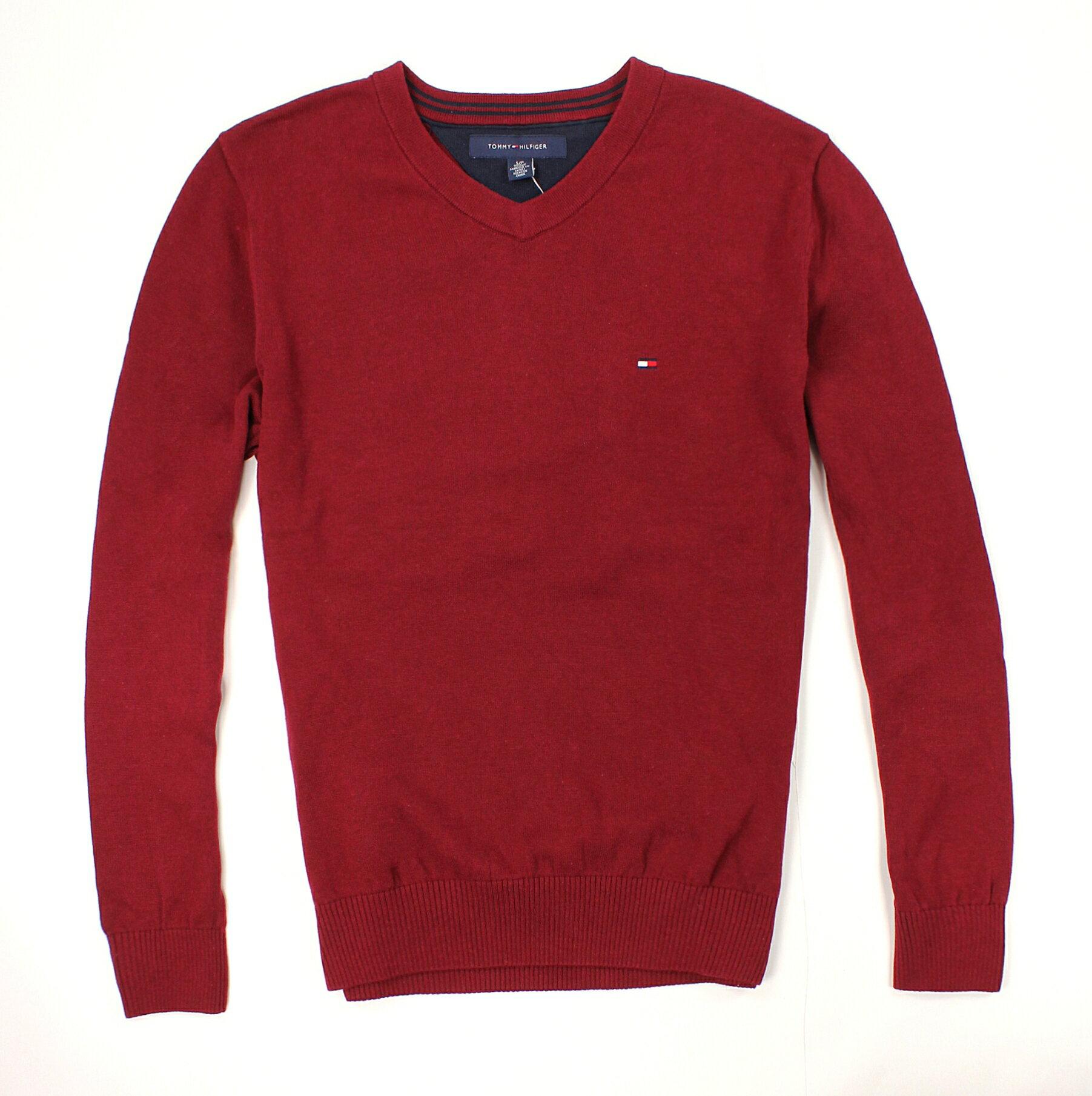 美國百分百【全新真品】Tommy Hilfiger 針織衫 TH 線衫 V領 素面 純棉 男衣 酒紅 S M L XL號 B606