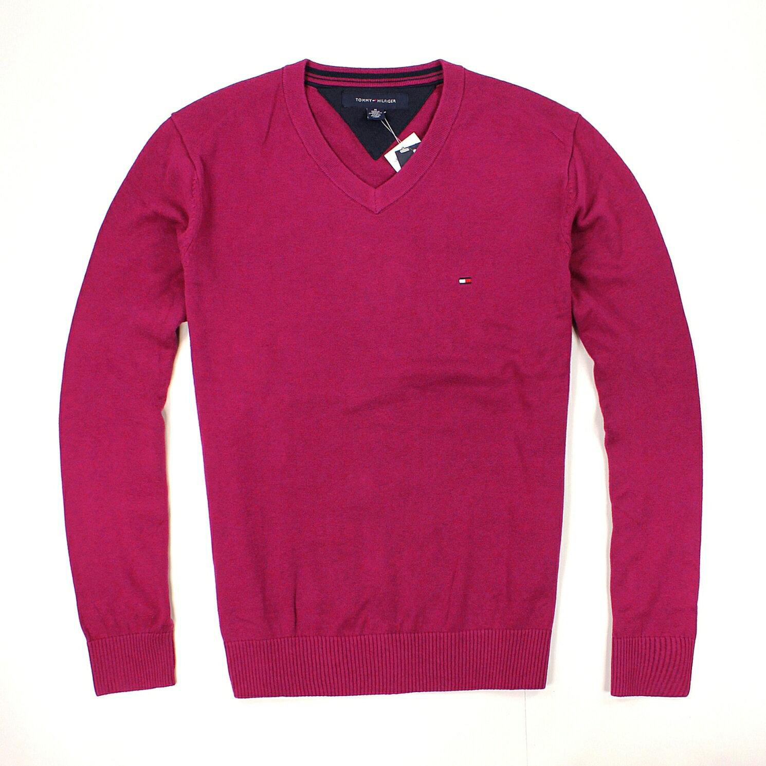 美國百分百【全新真品】Tommy Hilfiger 針織衫 TH 線衫 V領 素面 純棉 棉質毛衣 男衣 紫紅 預購 B606