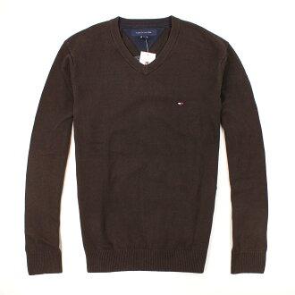美國百分百【全新真品】Tommy Hilfiger 針織衫 TH 線衫 V領 素面 純棉 棉質毛衣 男 咖啡 M L號 B606
