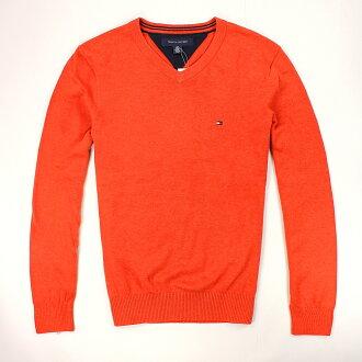 美國百分百【全新真品】Tommy Hilfiger 針織衫 TH 線衫 V領 素面 純棉 毛衣 男衣 橘 S M號 B606