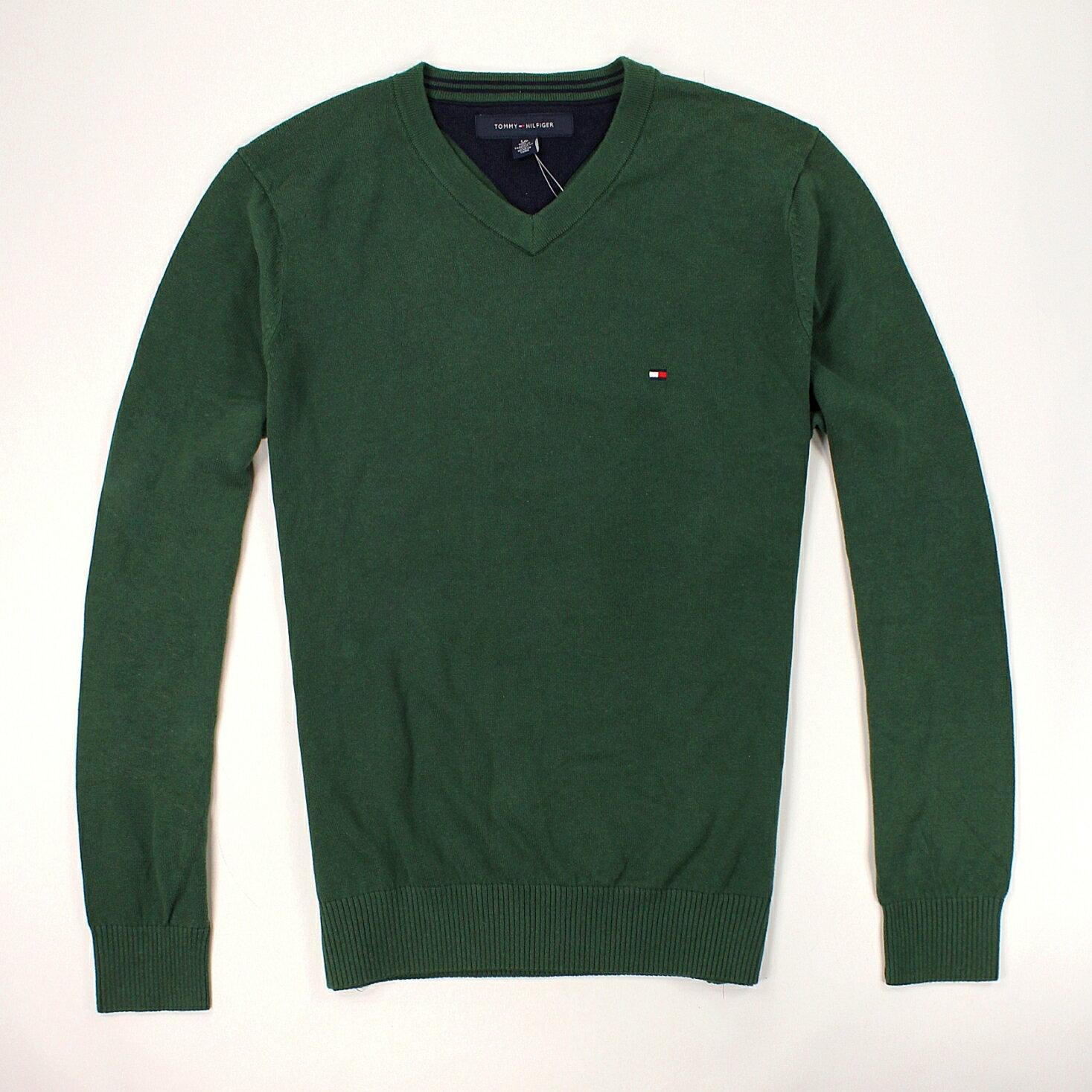 美國百分百【全新真品】Tommy Hilfiger 針織衫 TH 線衫 V領 素面 純棉 毛衣 男衣 深綠 S號 B606