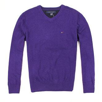 美國百分百【全新真品】Tommy Hilfiger 針織衫 TH 線衫 V領 素面 純棉 毛衣 男 紫 S M L號 B606
