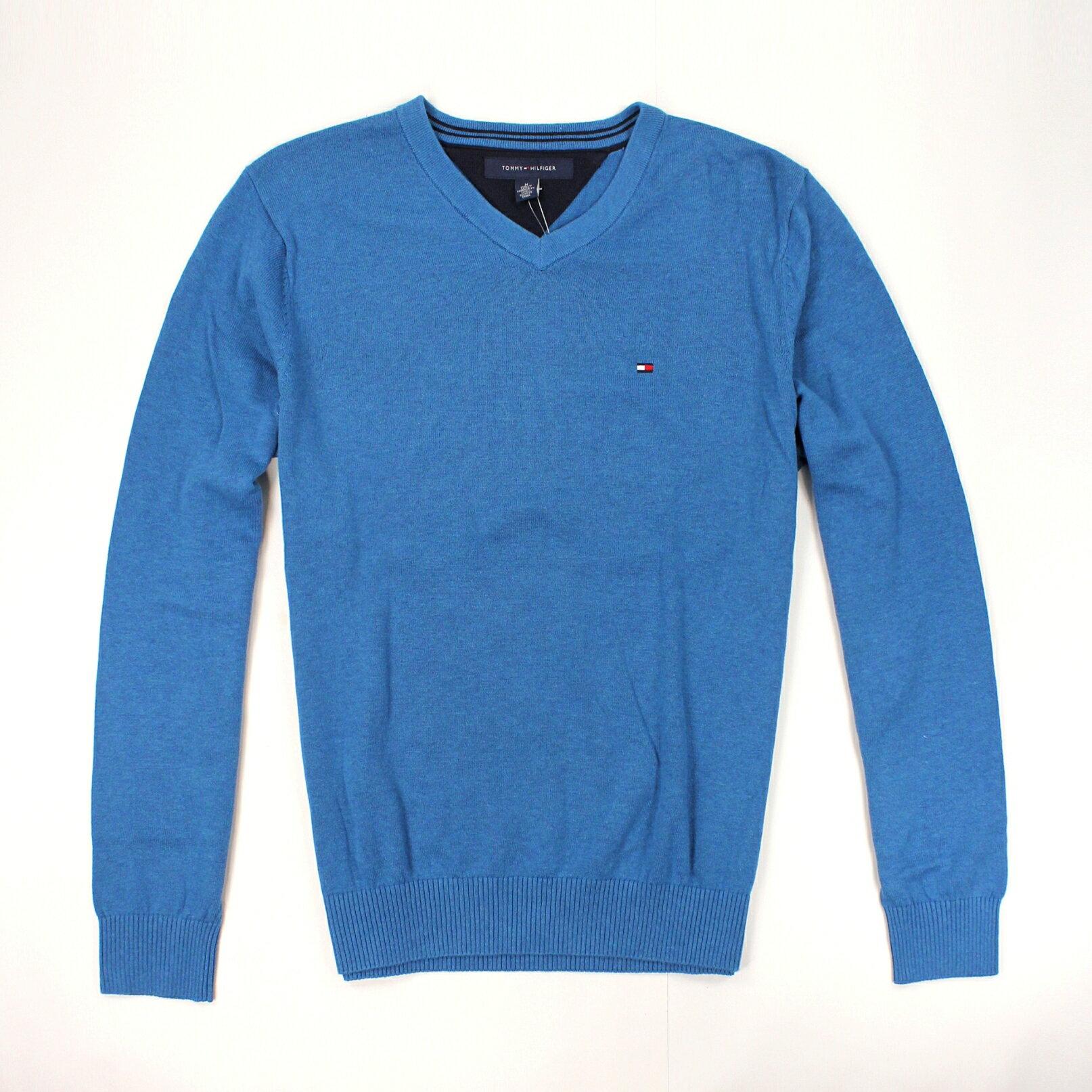 美國百分百【全新真品】Tommy Hilfiger 針織衫 TH 線衫 V領 素面 純棉 毛衣 男衣 青藍 M號 預購 B606