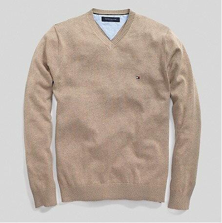 美國百分百【全新真品】Tommy Hilfiger 針織衫 TH 線衫 V領 素面 純棉 棉質毛衣 男 駝色 S M號 B606