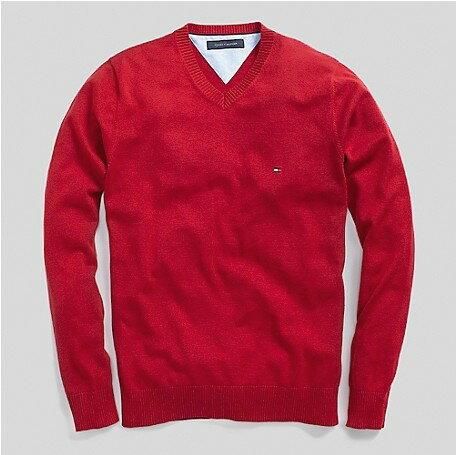 美國百分百【全新真品】Tommy Hilfiger 針織衫 TH 線衫 V領 素面 純棉 棉質毛衣 男 紅 M號 B606