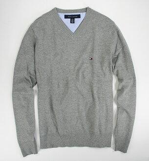 美國百分百【全新真品】Tommy Hilfiger 針織衫 TH 線衫 V領 素面 純棉 棉質毛衣 男 灰色 S M號 B606