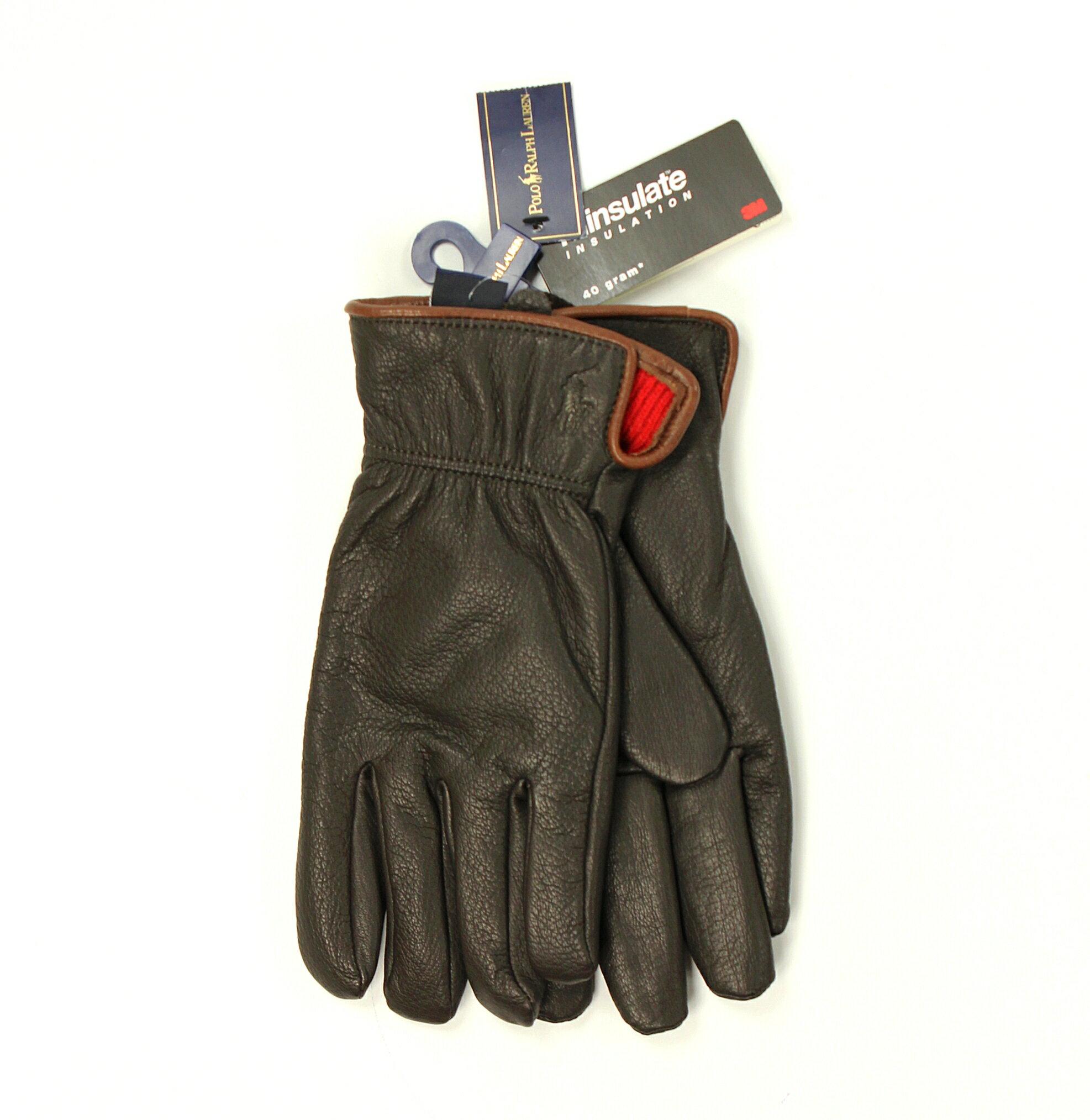 美國百分百【全新真品】Ralph Lauren 手套 RL 配件 皮革 羊毛 3M Polo 小馬 咖啡 保暖 男 女