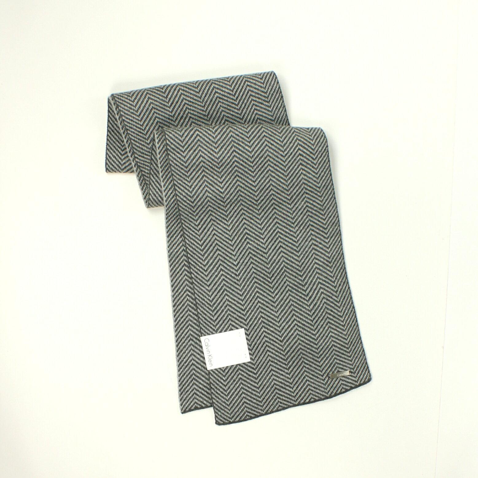 美國百分百【全新真品】Calvin Klein 圍巾 CK 配件 披肩 針織 灰色 條紋 保暖 Logo 男 女 B504