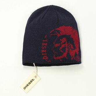 美國百分百【全新真品】Diesel 帽子 配件 針織帽 毛帽 街頭 深藍 龐克 男 女 反折 文字 人像 B549