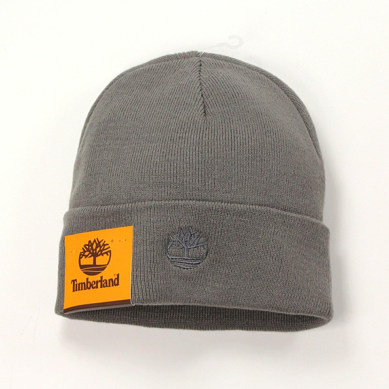 美國百分百【全新真品】Timberland 帽子 配件 針織帽 毛帽 灰 素面 男 女 反折 logo 刺繡 B557