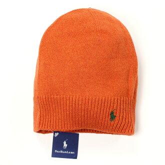 美國百分百【全新真品】Ralph Lauren 帽子 RL 配件 針織 毛帽 Polo 小馬 橘 羊毛 男 女 B556