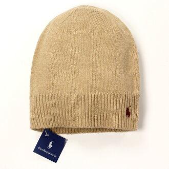 美國百分百【全新真品】Ralph Lauren 帽子 RL 配件 針織 毛帽 Polo 小馬 駝色 羊毛 男 女 B556