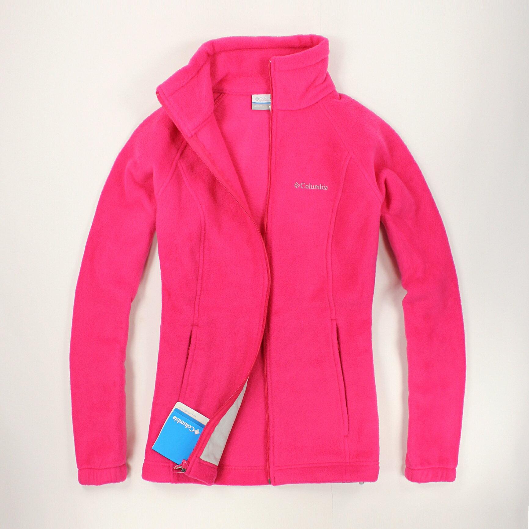 美國百分百【全新真品】Columbia 外套 刷毛外套 輕巧 fleece 保暖 哥倫比亞 桃紅 女 S M號 B534