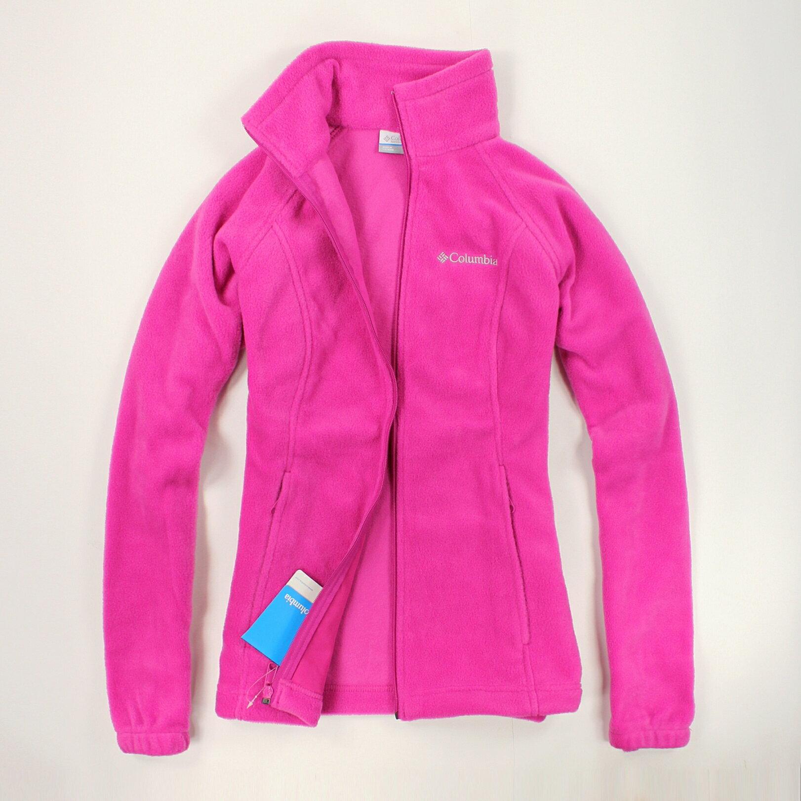美國百分百【全新真品】Columbia 外套 刷毛外套 輕巧 fleece 保暖 哥倫比亞 粉紅 女 S M號 B534