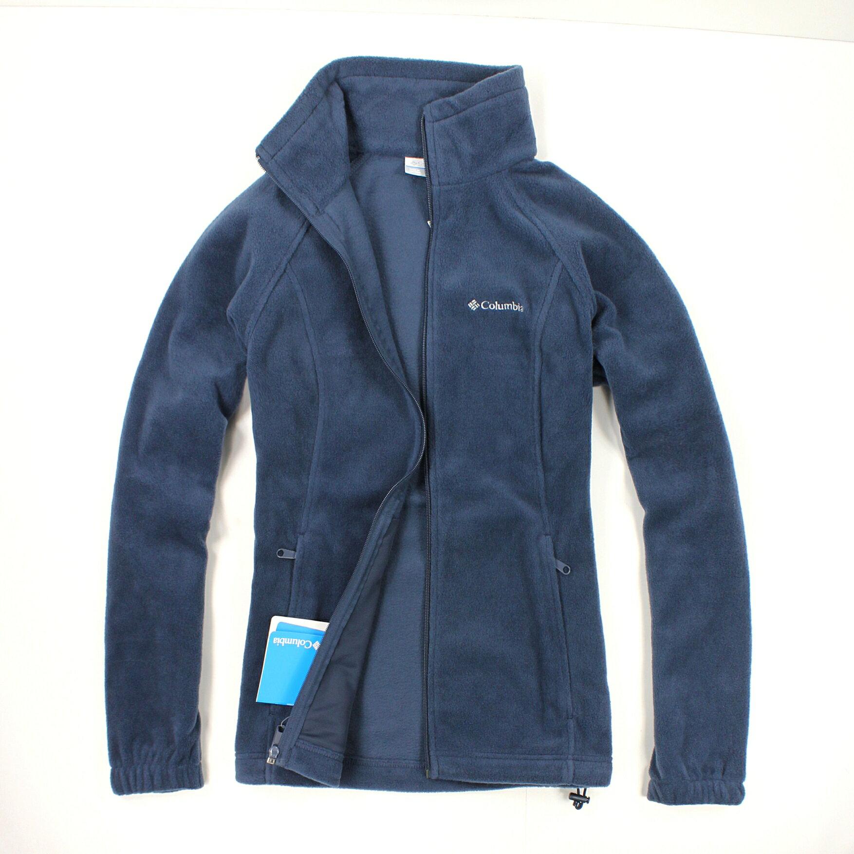 美國百分百【全新真品】Columbia 外套 刷毛外套 輕巧 fleece 保暖 哥倫比亞 深藍 女 S號 B534
