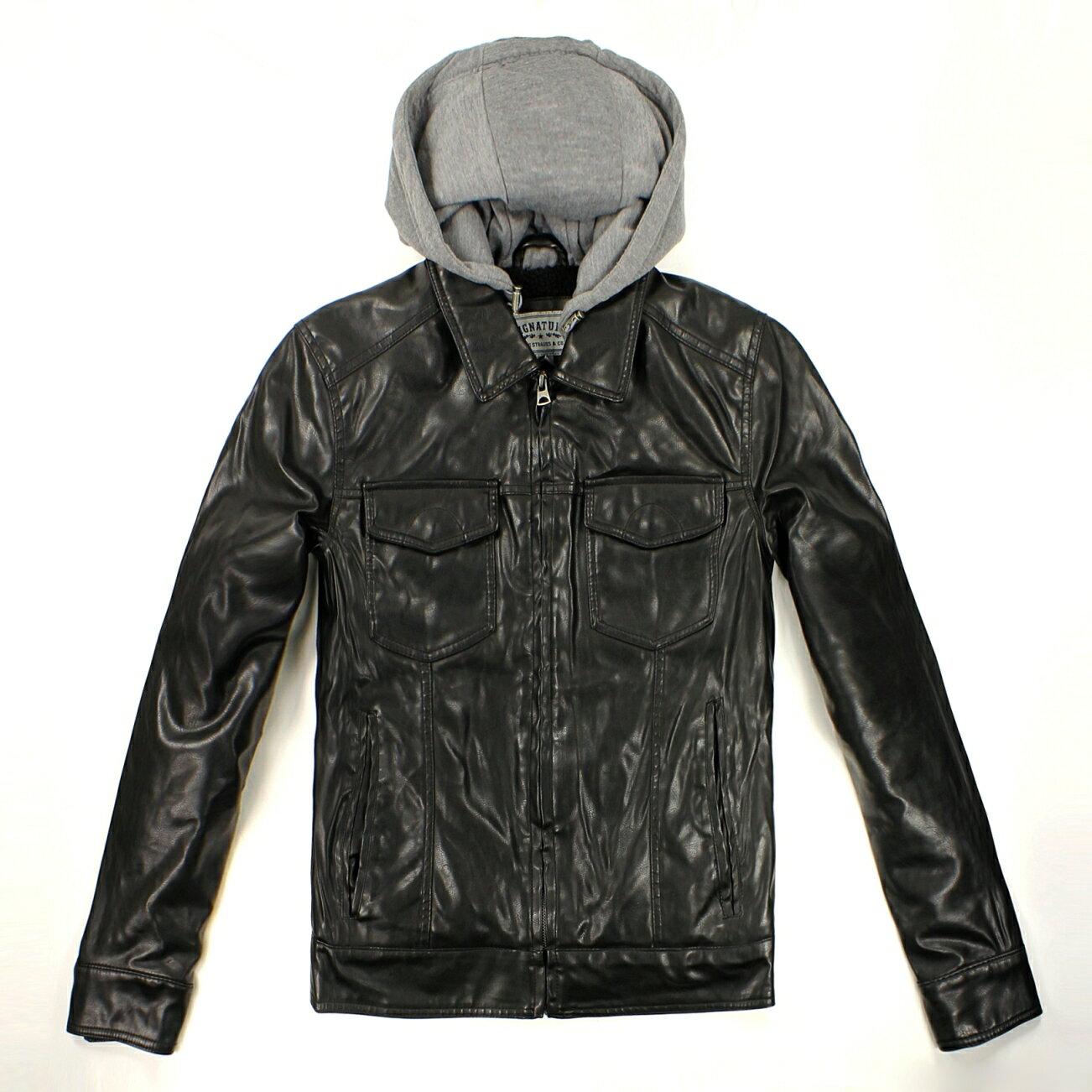 美國百分百【全新真品】Levis 外套 連帽外套 夾克 皮衣 黑色 男衣 厚 口袋 復古 L號 C067