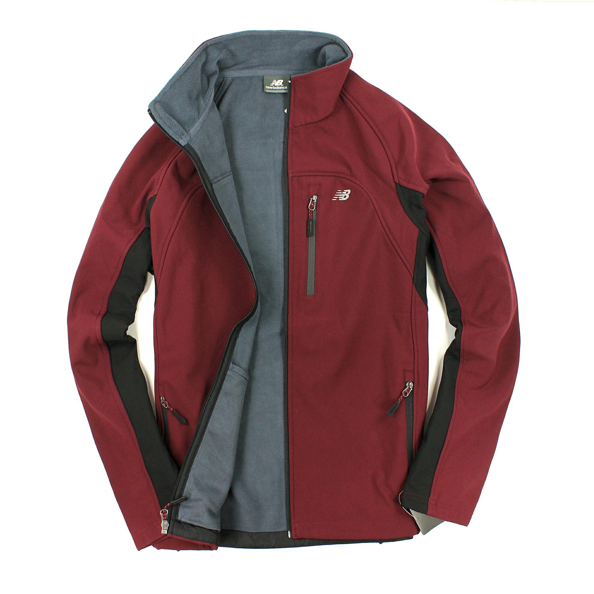 美國百分百【全新真品】New Balance 外套 NB 軟殼 夾克 紅黑 防風 防水 保暖 立領 男 S M B573