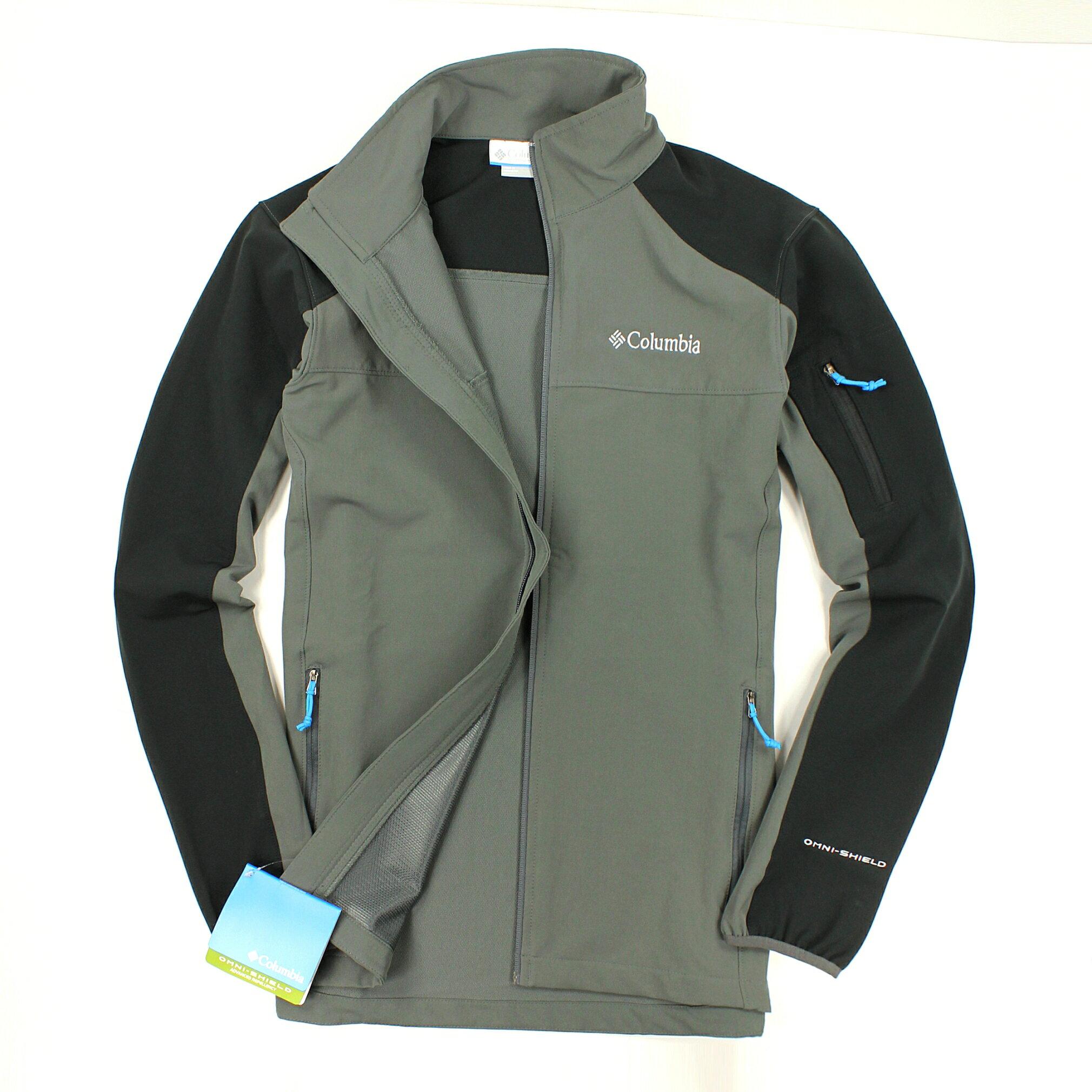 美國百分百【全新真品】Columbia 外套 哥倫比亞 夾克 Omni shield 防水 防汙 灰黑 透氣 男 S號