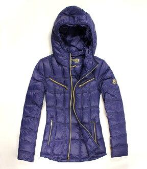 美國百分百【全新真品】Michael Kors 外套 MK 羽絨外套 連帽 輕量 紫 可收納 90% 限量 專櫃 女 S號