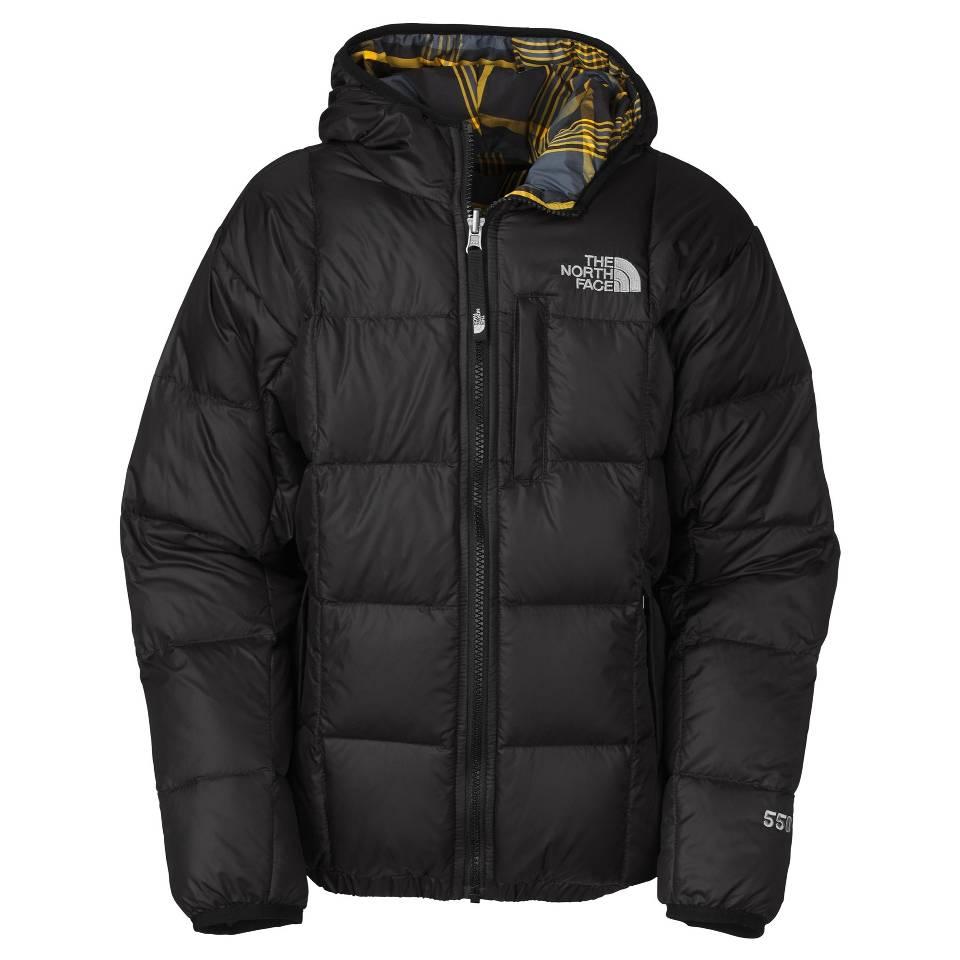美國百分百【全新真品】The North Face 外套 TNF 羽絨 夾克 連帽外套 北臉 黑 格紋 兩面 550 男 S號 E837