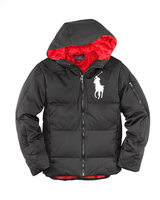 美國百分百【全新真品】Ralph Lauren 外套 RL 羽絨外套 連帽 夾克 Polo 大馬 黑 保暖 厚 男衣 S號 C011