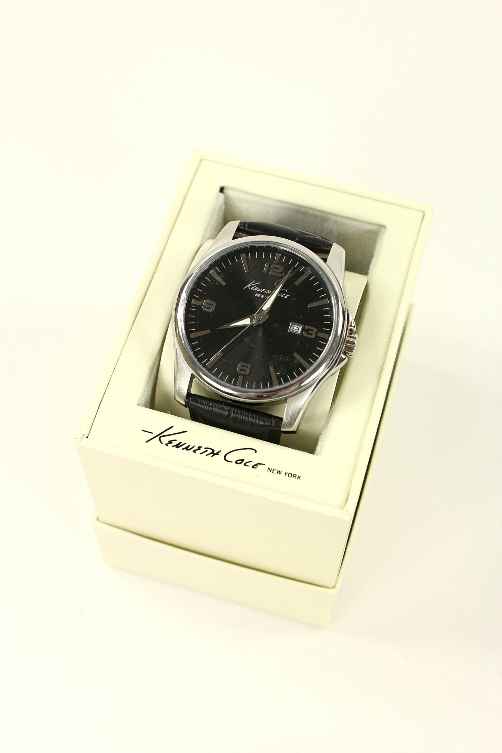 美國百分百【全新真品】Kenneth Cole 手錶 KC 配件 石英錶 真皮錶帶 黑 夜光 對錶 黑色 男 女 1864