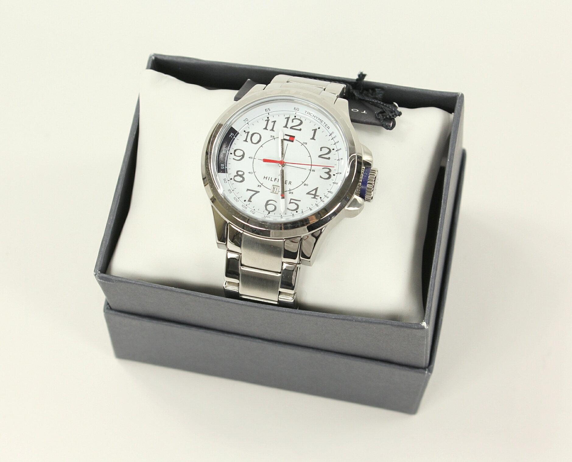 美國百分百【全新真品】Tommy Hilfiger 手錶 TH 配件 不?鋼 金屬錶帶 銀色 多功能 男 女 禮物 禮盒