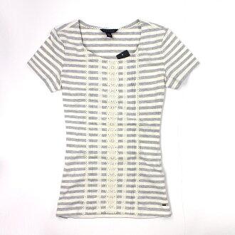 美國百分百【全新真品】Tommy Hilfiger T恤 TH 短袖 上衣 T-shirt 灰色 條紋 蕾絲 純棉 女衣 S號