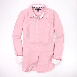 美國百分百【全新真品】Tommy Hilfiger 襯衫 TH 長袖 上衣 工作衫 休閒衫 粉紅 素面 純棉 女 XS