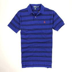 美國百分百【全新真品】Ralph Lauren Polo衫 RL 短袖 上衣 Polo 小馬 寶藍 條紋 網眼 男衣 M L號