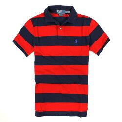 美國百分百【全新真品】Ralph Lauren Polo衫 RL 短袖 上衣 Polo 小馬 藍 紅 條紋 網眼 免運 男 XS S