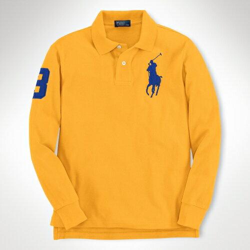 美國百分百【全新真品】Ralph Lauren Polo衫 RL 長袖 上衣 Polo 大馬 黃 純棉 專櫃 網眼 男 XS S號