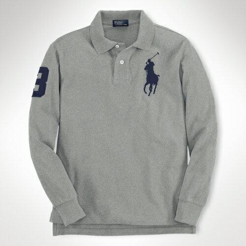 美國百分百【全新真品】Ralph Lauren Polo衫 RL 長袖 上衣 Polo 大馬 灰 純棉 專櫃 免運 男 XS S號