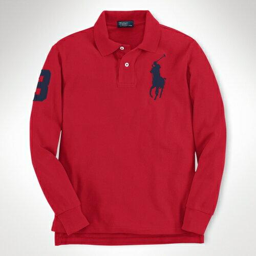 美國百分百【全新真品】Ralph Lauren Polo衫 RL 長袖 上衣 Polo 大馬 紅 網眼 專櫃 免運 男 XS S號