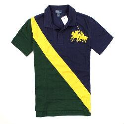 美國百分百【全新真品】Ralph Lauren Polo衫 RL 短袖 上衣 Polo 群馬 深藍 綠 條紋 特殊領 男 XS S號